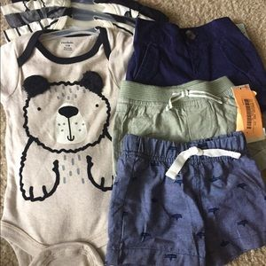 Brand new 5 packs of Gerber onesies and 3 shorts.